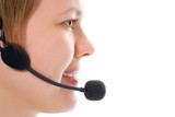 beautiful customer support girl in headphones in half face on wh poster