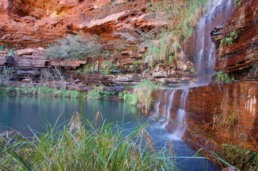 waterfall in karijini national park, wa