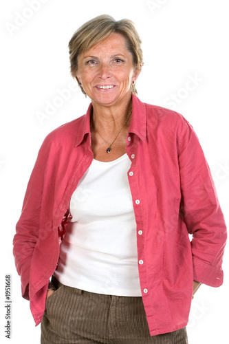 middleaged woman smiles