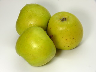 green apples covered with dewdrops