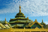 buddhist temple on bright sky background poster