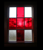 red stained glass window poster