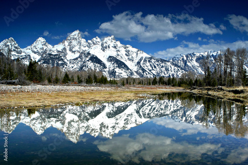 canvas print picture mountain reflection
