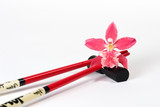 magenta orchid and chopsticks poster