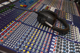 mixing desk & headphones poster