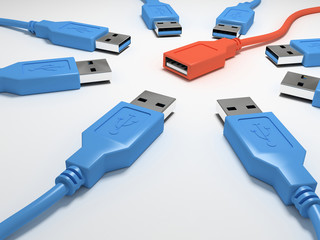 eight blue usb connectors and one red 3d