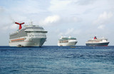 three cruise ships anchored at exotic port of call poster