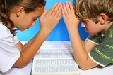 children praying over the bible pout poster