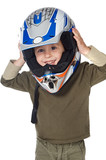 adorable boy with a helmet in the head poster