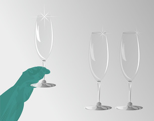 rubber gloves and champagne glasses