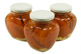 three jars of red peppers marinated poster