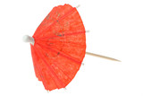 red asian cocktail umbrella on pure white backgrou poster