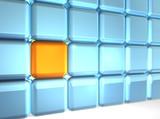 24 cubes (23 blue, 1 orange) poster