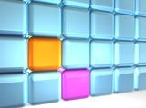 24 cubes (22 blue, 1 orange, 1 magenta) poster