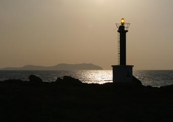 light beacon at sunset