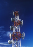 red and white telecommunications mast poster