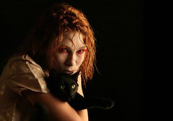 vampire girl with black cat