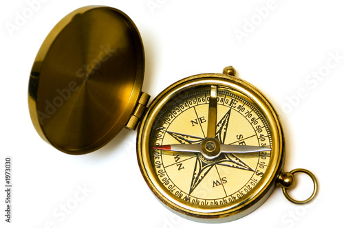 old style brass compass on white background - 1973030
