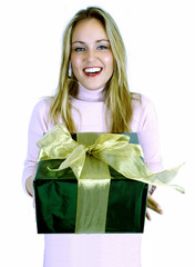 young lady with gift