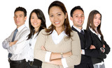 asian entrepreneur and her business team poster