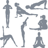 yoga postures silhouettes poster
