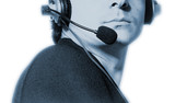 man with microphone and earphone. poster