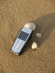mobile phone on the beach