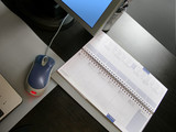 modern workplace. desktop, computer, note-book poster