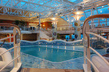 indoor heated pool on modern cruise ship poster