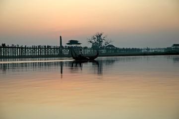 myanmar, amarapura, u bein bridge; stunning sundown from u bein