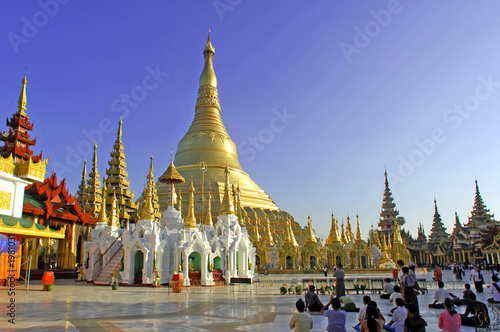 myanmar, yangon: shwedagon pagoda, one of the most impressive pa