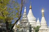 myanmar, mandalay: stupas near kuthodaw pagoda poster