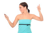 woman dancing with headphones poster