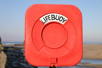 red lifebuoy holder.