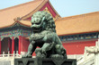 bronze lion at forbidden city entrance