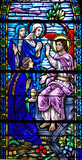 stained glass window of resurrection angel poster