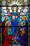 stained glass window of christ and his disciples poster