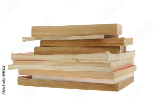 poster of old books pile on pure white background