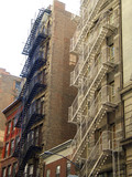 fire escape ladders, manhattan, new york poster