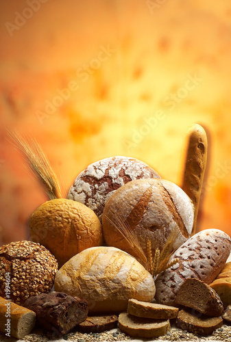 Foto Spatwand Brood group of different bread products photographed wit