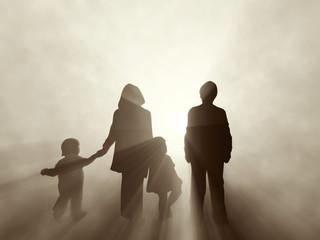family at sunrise