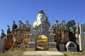 myanmar, inle lake: buddha images at nanthe paya