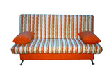 soft sofa from a fabric in a strip. poster