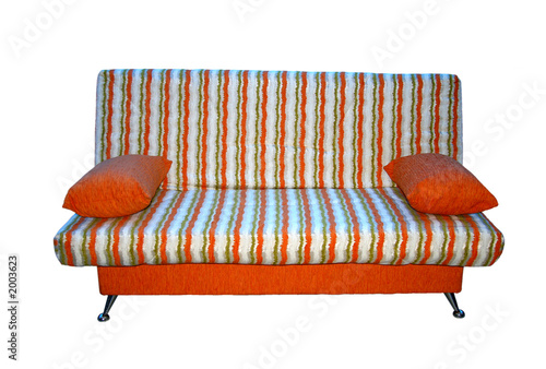 poster of soft sofa from a fabric in a strip.