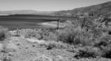 monochrome desert lake poster