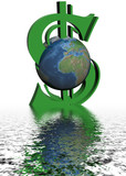 money and world. 3d image. poster