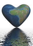 the earth in form of heart. 3d image. poster