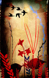 floral composition with bird` silhouettes poster