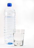 tall water bottle and glass poster