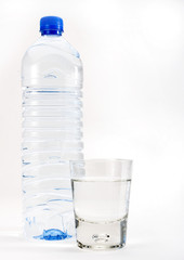 tall water bottle and glass